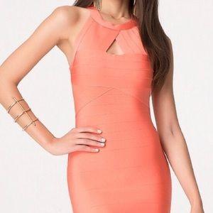 Peach bandage dress by Bebe